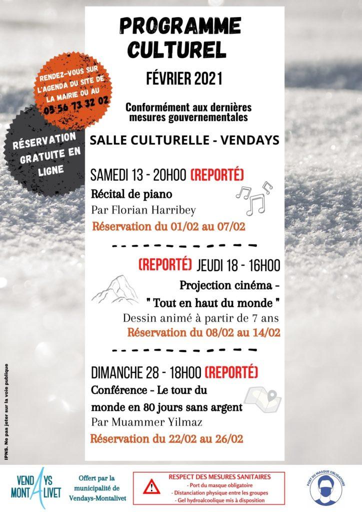 PROGRAMME CULTUREL - février Reporté